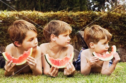 Three brothers eating watermelon outdoors