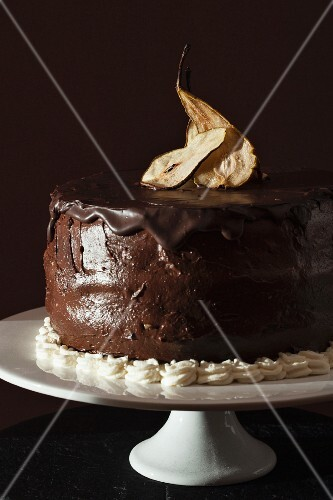 Chocolate torte with dried pears