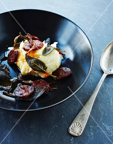 Mashed potato with chorizo and sage