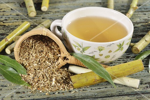 White willow tea with ingredients (twigs, bark, leaves)