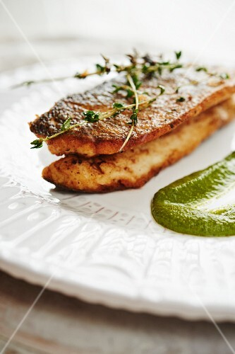 Pan Roasted Sea Bass with Salsa Verde and thyme