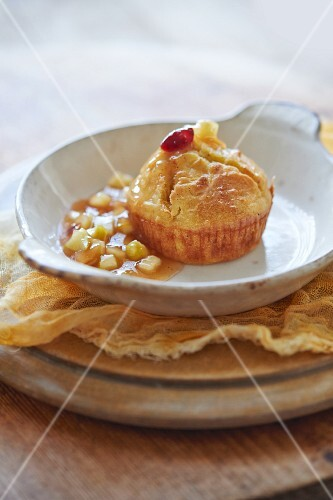 Butternut squash souffle with apple chutney