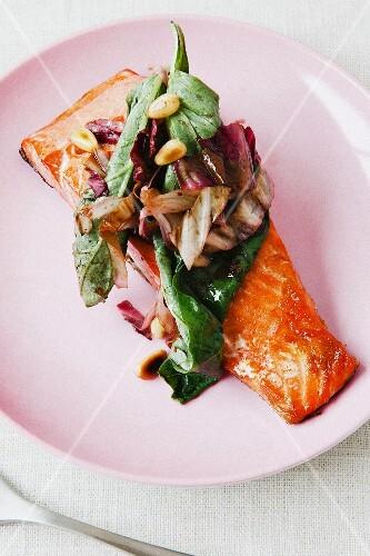 Vegetables and salmon fillet