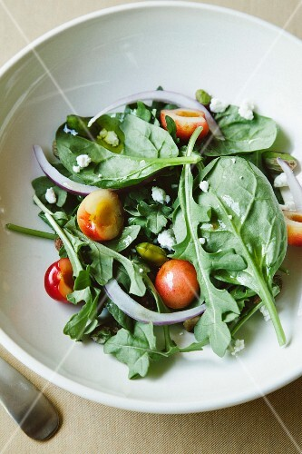 Green salad with cherries