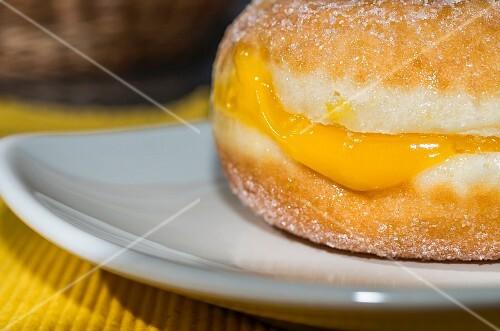 Yummy plain doughnut with cream