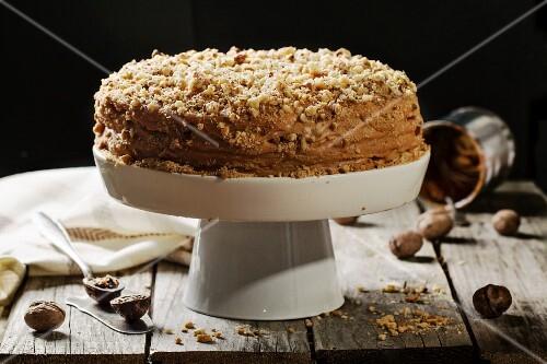 Honey cake with walnuts