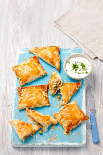 Puff pastry parcels filled with chicken and peas