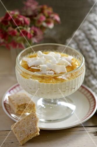 A creamy dessert with shortbread