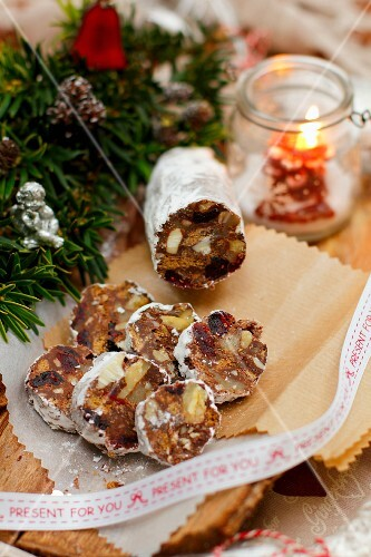 Chocolate 'salami' with cranberries, marzipan and walnuts, for Christmas