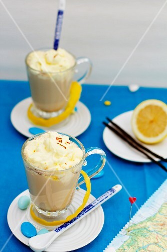 Galao Lisboa (latte with saffron cream and lemon peel, Portugal)