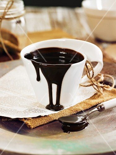 Chocolate sauce in a cup