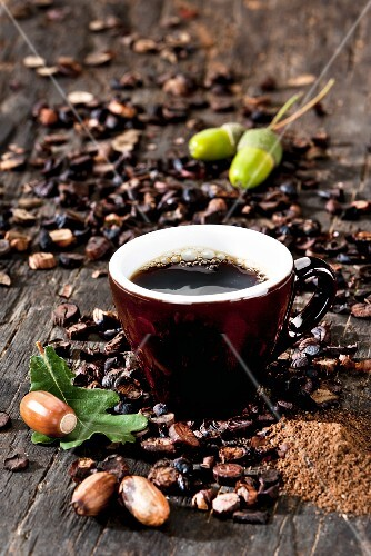 A cup of coffee made from roasted acorns