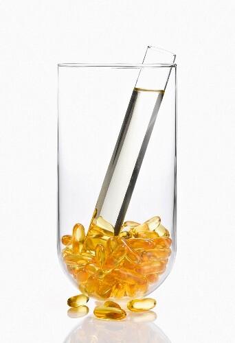 Vitamin gel capsules and glass vile