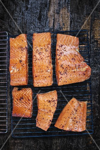 Smoked salmon on a wire rack