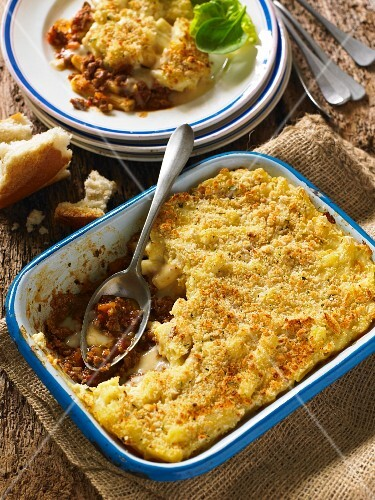 Cottage Pie in the dish and on a plate (England)