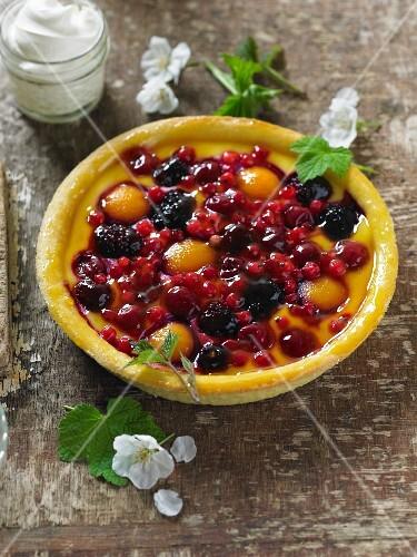 Summer fruit tart with cream