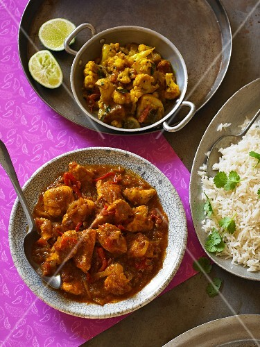 Kashmiri chicken curry with rice (India)
