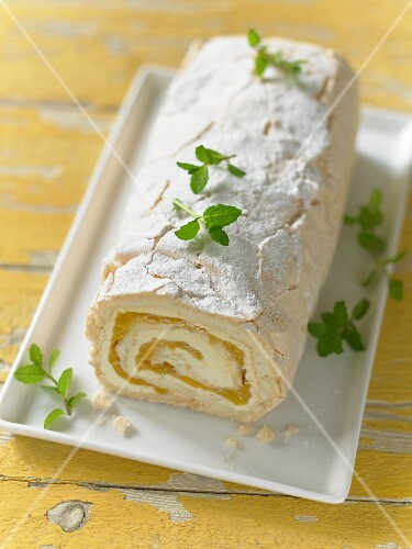 Plain Swiss roll with passion fruit