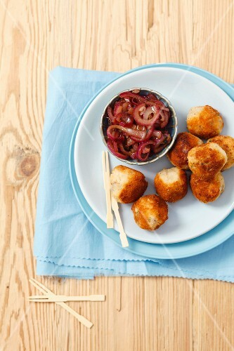 Potato croquettes with smoked mackerel and caramelised red onions