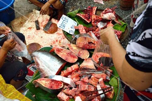Fresh tuna at a market in Thailand