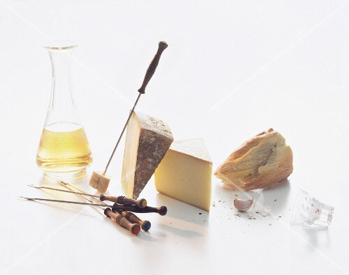Ingredients for cheese fondue