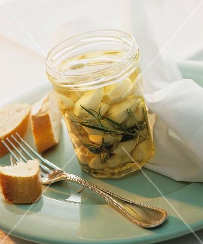 Preserved garlic in a jar