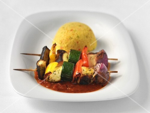 Vegetable and halloumi skewers with couscous