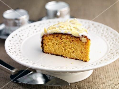 A slice of gluten-free orange and almond cake