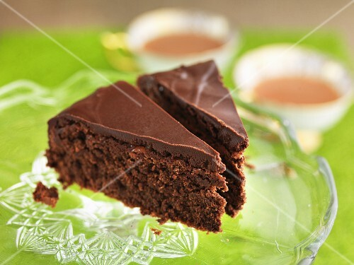 Two slices of gluten-free chocolate cake