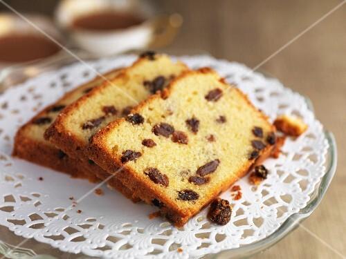 Three slices of gluten-free almond & sultana cake