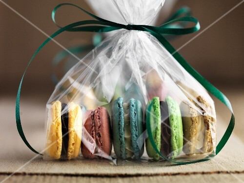 Gluten-free macaroons, packaged as a gift