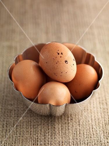 Brown eggs in a metal bowl