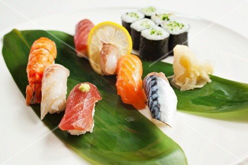 Assorted nigiri and maki sushi with pickled ginger
