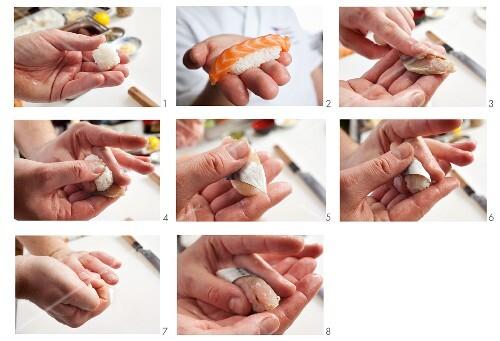 Making nigiri sushi with salmon and mackerel