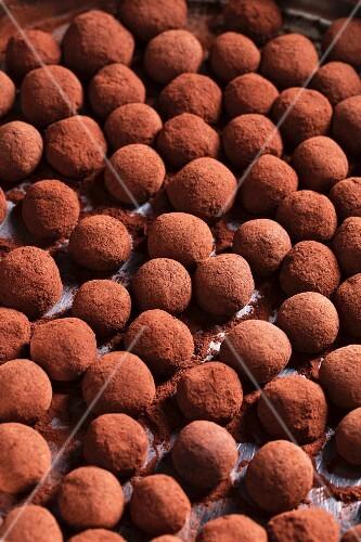 Home-made marzipan truffles