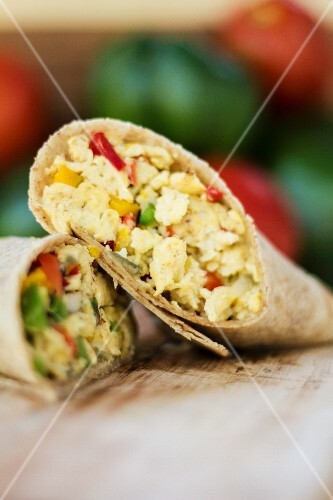 Breakfast burrito with tofu and peppers