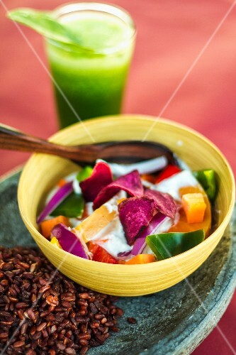 Vegetarian coconut curry with red rice
