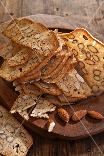 Almond biscotti on a wooden board
