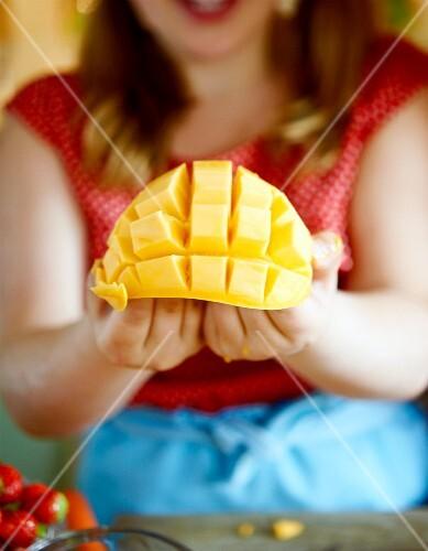 A diced mango