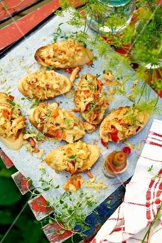 Bruschetta with crayfish