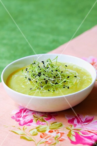Cream of courgette soup with bean sprouts