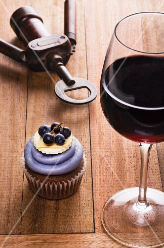 A chianti cupcake and a glass of red wine