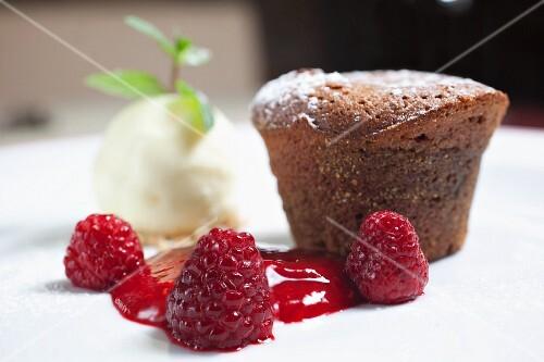 Choco muffin with raspberry and vanilla ice cream
