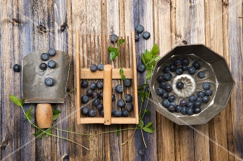 Blueberries with kitchen utensils