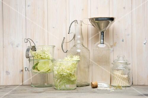 Ingredients for homemade elderflower syrup