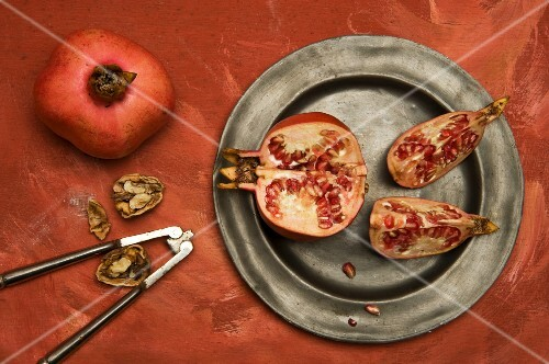 Pomegranates and walnuts
