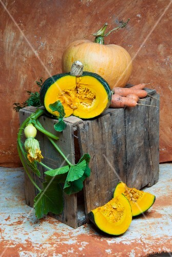 Pumpkins and carrots on a wooden box