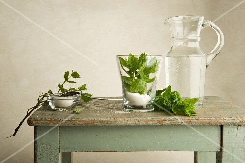 Ingredients for peppermint tea on a wooden table