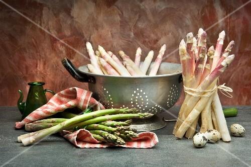 An arrangement of asparagus and quail's eggs