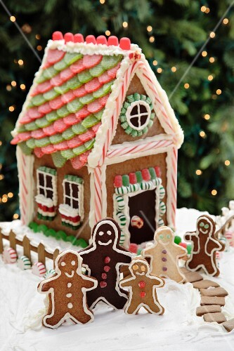 A gingerbread house and gingerbread men